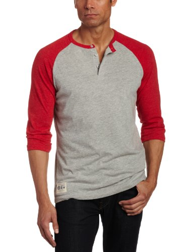 Company 81 Men's Three-Fourth Sleeve Henley Shirt, Red, X-Large/Regular