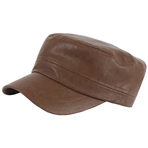 RaOn A145 New Faux Leather Basic Simple Rider Unique Golf Army Cap Cadet Military Hat (Brown)