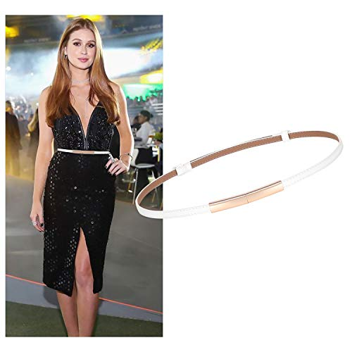 Women White Skinny Leather Belt Patent Leather Thin Waist Belt Fashion Belt for Dresses With Gold Buckle