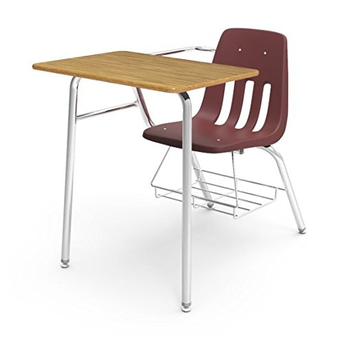 Virco Student Chair Desk with Bookrack,Wine, Soft Plastic Seat, 18 x 24 inches, Medium Oak Laminate Top, 5th Grade to Adult, Pack of 2 (9400BR-RED50-OAK84) (Desks Medium Oak Laminate Top)
