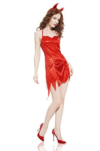 She Devils Costumes (Adult Women She Devil Costume Halloween Cosplay Hot Demon Girl Role Play Dress Up (Small/Medium, Red))