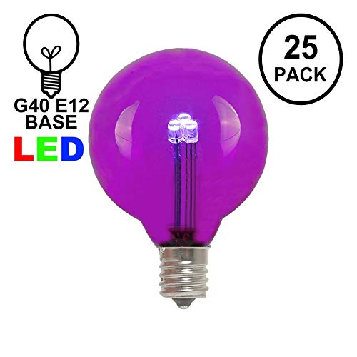 Novelty Lights 25 Pack G40 LED Outdoor String Light Patio Globe Replacement Bulbs, Purple, 3 LED's Per Bulb, Energy Efficient