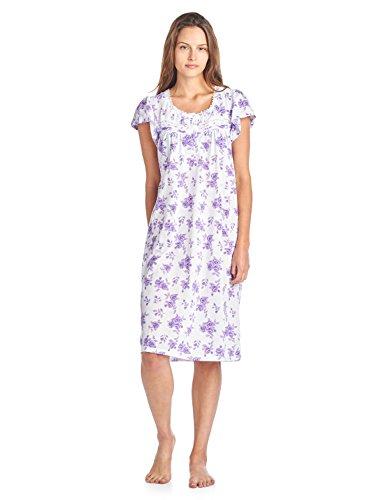Casual Nights Women's Cotton Short Sleeve Sleep Dress Nightshirt - Purple - 3X-Large