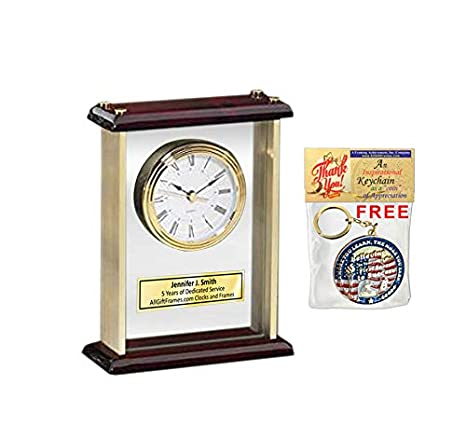 Amazoncom Engraved Desk Clock Personalized Enclosed In Glass Gold