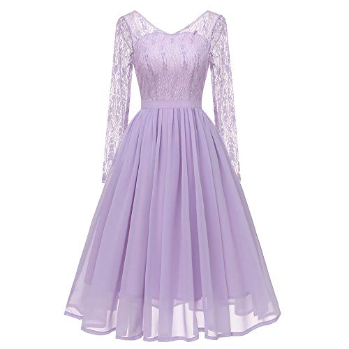 Hot Sale Womens Princess Dresses,deatu Clearance Ladies Autumn Long Sleeves Small Fresh Floral Lace Chiffon Party Dress(Purple,XL)