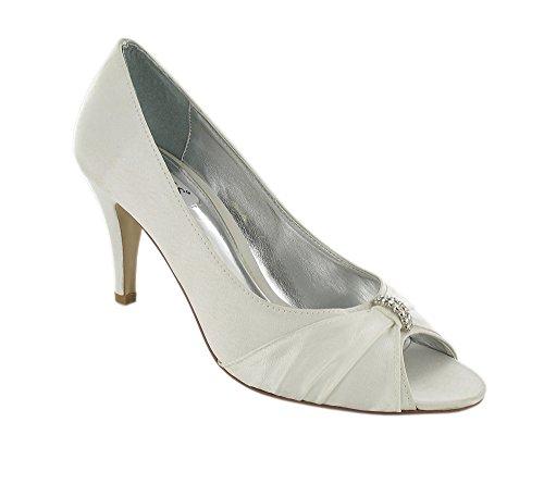 Ladies Peep Toe Fashion Shoe with Diamante Trim. Ivory bI6M9negtT