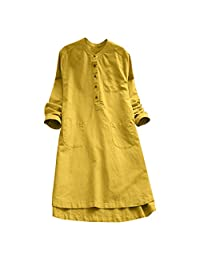 SUNSEE WOMEN'S CLOTHES PROMOTION Vestido de Fiesta Casual con Bolsillos de Retazos para Mujer, Estilo clásico, Unisex, Modelo SUNSEE2019, Amarillo, L