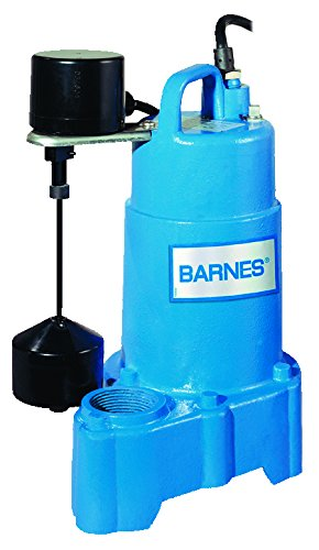 Barnes 112551 Model SP33VF Submersible Cast Iron Sump Pump - 1/3 HP, 3,000 GPH, 10' Cord, Piggy Back Mechanical Float Switch, For Residential Use