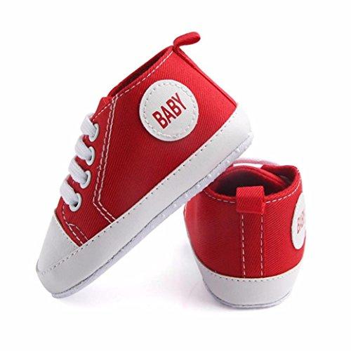 Sunnyoyo Nette 3-15 Monats Neugeborenes Baby Jungen Mädchen Mode Solid Segeltuch Anti-Rutsch-weiche Schuhe Sneaker Rot