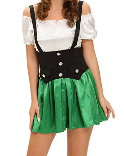 Elakaka Shamrock Sweetie 2pcs Beer Girl Costume(Size,L) (Captain Caveman Costume)