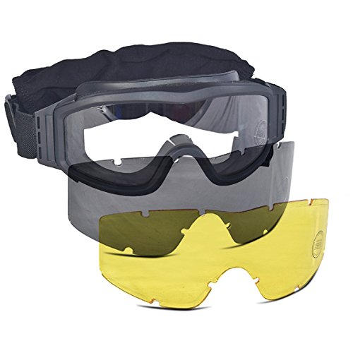 Goggle Black Frame Smoked Lens (Lancer Tactical CA-203B Safety Airsoft Goggles w/ Interchangeable Multi Lens Kit (Black), Includes Smoked, Clear, & Yellow)