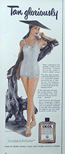 skol-suntan-lotion-50s-scarce-print-ad-color-illustration-tan-gloriously-original-1952-life-magazine