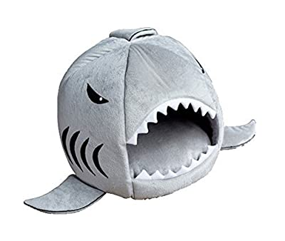 Leegoal Cute Color Shark Round House Puppy Bed with Pet Bed Mat Small to Medium,Gray