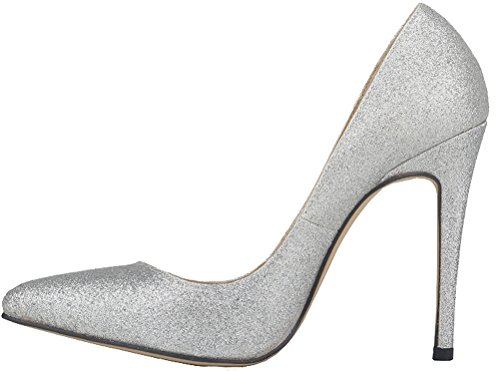 CFP YSE-302-1XS Womens Sweet Various Colors Sexy High Slim Heel Abrasion Resistant Shoes Shallow Mouth Breathable Charming Party Vogue Lovely Nimble Delicate Wedding Slip On Handmade Silver keLkun