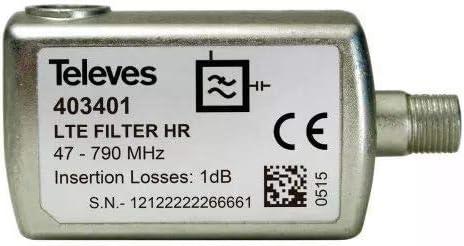 Televes 403401 - Filtro lte60 f 5-790mhz vhf/uhf c21-60 ...