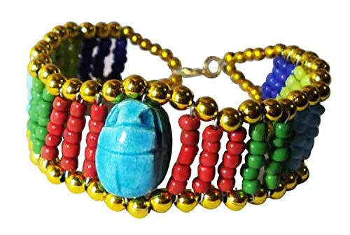 Bonballoon Crafted Colored Beads Scarab Egyptian Good Luck Bracelet Jewelry 234