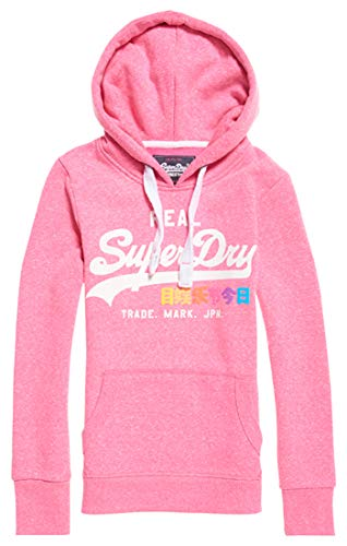 Superdry Entry Logo Para Hood Pop Vintage Mujer fluro As1 Snowy Suéter Rosa Pink qtwx1Oqgr