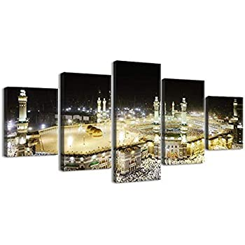 VIIVEI Large Size Islamic Wall Art Muslim Canvas Painting Printed Mecca Pictures 5 Pieces Posters Home Decor Artwork Huge Panel Arabic Set Supply Framed Bedroom Living Room (70