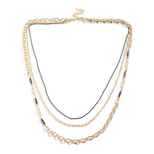 Green Chroma Goldtone Triple Strand Drape Necklace 34-37 in