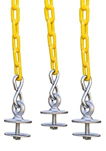 "Swing-N-Play Tire Swing Kit, with 3 Tire Eye Bolts, and (3) 6' Long Plastic Coated Chains. Includes a 3"" Quick Link."