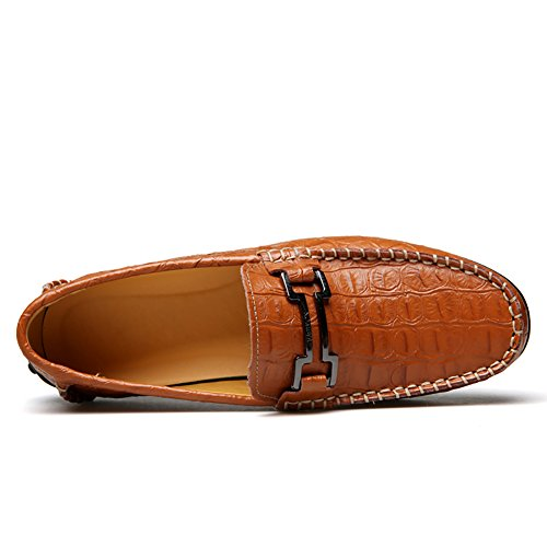 cheap big sale largest supplier for sale No.66 Town Men's Crocodile Driving Leather Flats Loafers Casual Boat Shoes Brown tVaq6N3