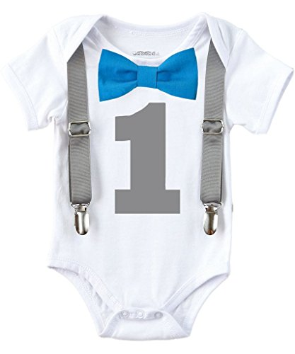 Noah's Boytique Baby Boys 1st Birthday Bodysuit with Bow Tie 6-12 M (1st Birthday Outfit Boy)