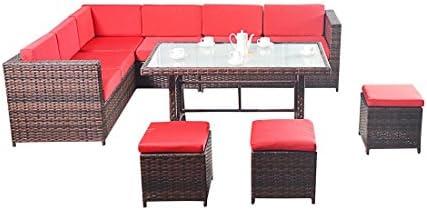 Oeste de color marrón y rojo de la esquina - Con un conjunto de sofás rinconera Modular de gran tamaño, una mesa de comedor y tres escabeles de mimbre muebles de jardín: