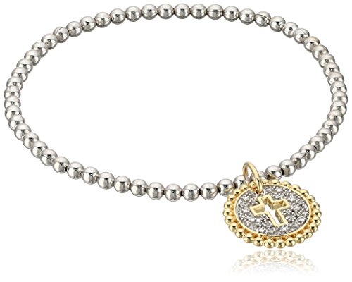 Sterling Silver and 10k Yellow Gold Diamond Accent Stretch Bead Cross Cut Out with Charm Bracelet by Amazon Collection