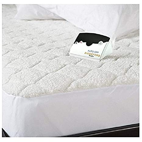 Full White Biddeford 5301-9051128-100 Sherpa Quilted Skirt Electric Heated Mattress Pad