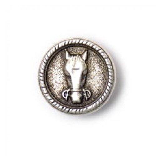 Crendon Horse Head Metal Shank Buttons - per Pack of 3 ()