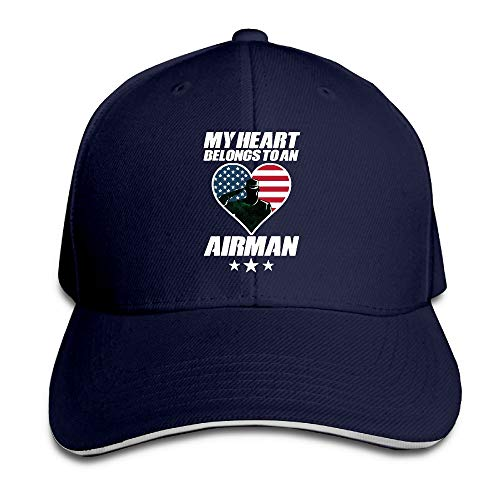 My Heart Belongs to an Airman Adjustable Baseball Hat Dad Hats Trucker Hat Sandwich Visor Cap