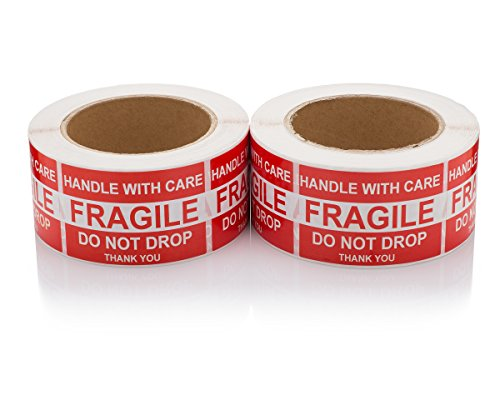 """Handle With Care/Fragile/Do Not Drop/Thank You, Fragile Shipping Stickers, Moving Labels, 1,000 Labels, 2 Rolls (500 Per Roll), 2""""x3"""", By Labelbasics"""