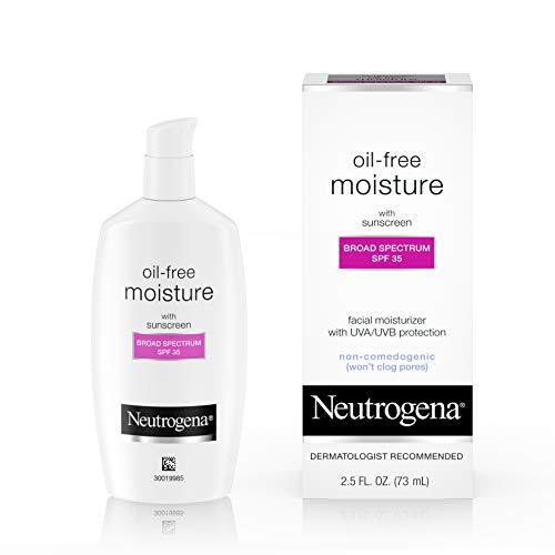 Neutrogena Oil-Free Daily Long Lasting Facial Moisturizer & Neck Cream with SPF 35 Sunscreen & Glycerin, Non-Greasy, Oil…