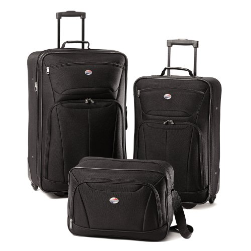 American Tourister Luggage Fieldbrook II 3 Piece Set, Black (4 Set Piece Luggage)