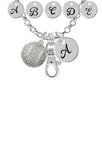 Large Super Sparkle Crystal Clear AB Softball Custom Initial Badge Clip Necklace