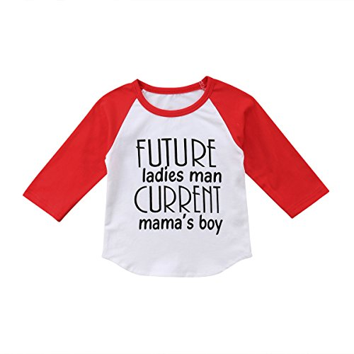 Toddler Kids Little Baby Future Ladies Man Current Mama¡¯s Boy Long Sleeve T-Shirt Tops Outfits (90(2-3 Y), White) ()
