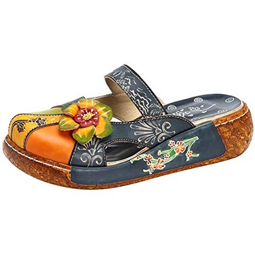 Mordenmiss Women's Colorful Backless Slippers Flowers Leather Vintage Boho Platform Flat Sandals Navy US 9