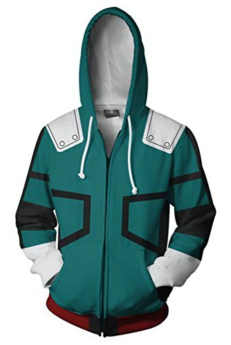 NoveltyBoy Boku No Hero Academia My Hero Academia Izuku Midoriya Hoodies Jacket Green Sweatshirt Cosplay Costume (Large)
