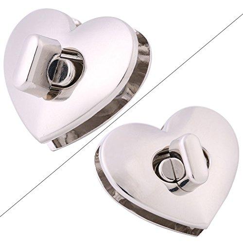 5Sets Heart-shaped Metal Clasp Turn Lock Twist Lock HardwareHandbag Bag Accessory (Silver)