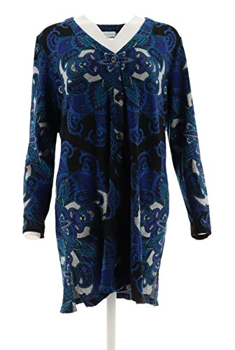 Susan Graver Printed Sweater Knit Button Front Duster A298478, Blue, M