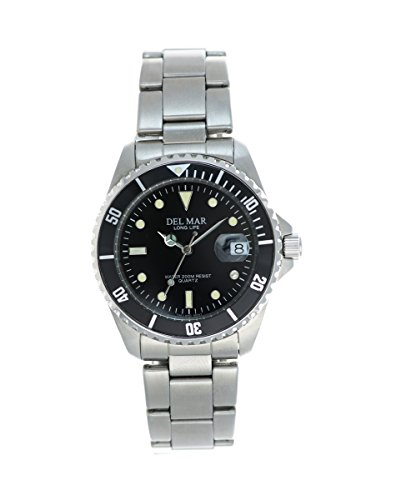 Stainless Dive Watch with Black Face - Dive Mar Stainless Del
