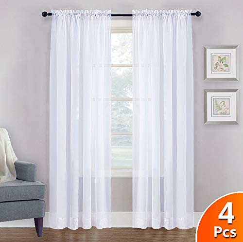 NICETOWN 4 Pieces Sheer White Curtains 84 - Window Treatment Rod Pocket Tulle Voile Drape/Panel Sets for Patio Door (4 Panels, W60 x L84)