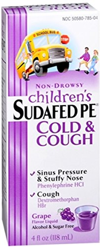 Children's Sudafed PE Cold and Cough Grape Liquid, 4 Ounce (Pack of 2)
