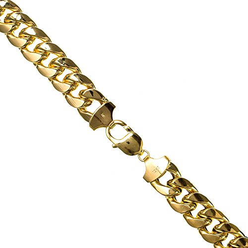 IcedTime 10K YELLOW Gold HOLLOW MIAMI CUBAN Chain - 34 inch Long 13MM - Yellow Gold Figaro 13mm Chain