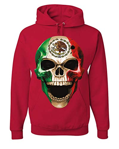 Skull Face Mexican Pride Hoodie Mexico Ethnic Golden Eagle Flag Sweatshirt Red 2XL