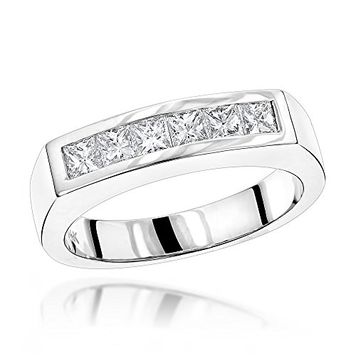 Luxurman Unique 14K Natural 0.6 Ctw Real Diamonds Mens Wedding Band (White Gold Size 11.5) 4mm Platinum Channel Diamond Ring