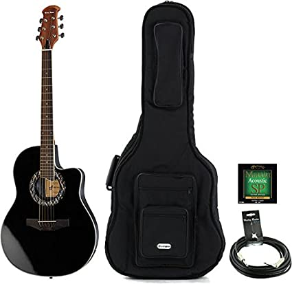 Guitarra Acústica oferta Bundle Color Harley HB600 BK Bundle