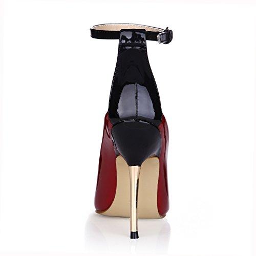 Einzelne Frauen neue Abendessen Nachtclubs Wein High Heels Wein Nachtclubs rot lackiert Leder Schuh mit Bügeleisen Tipps Wine ROT 8220a7