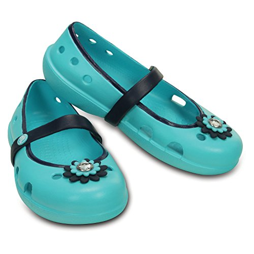 Crocs Girls' Keeley Petal Charm Flat  - Pool/Navy - 10 Toddl
