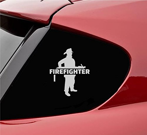 Firefighter with hose Vinyl Decal Sticker (Satin Silver)